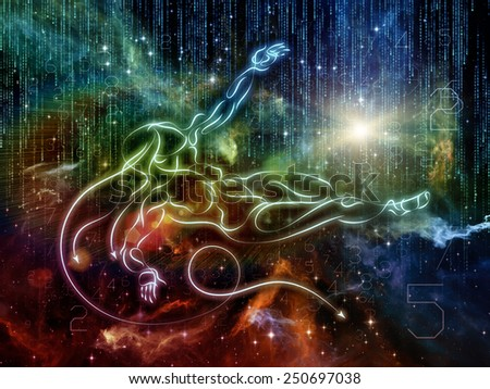 Connected Reality series. Design made of human lines, numbers, lights to serve as backdrop for projects related to  metaphysics, religion, philosophy, science and modern technology - stock photo