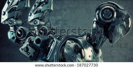 Connected robot in profile 3d render - stock photo