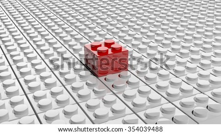 Connected white lego blocks with one red standing out, abstract background. - stock photo