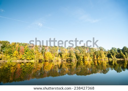 Connecticut River, morning calm and fall colors - stock photo