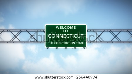 Connecticut USA State Welcome to Highway Road Sign 3D Illustration - stock photo