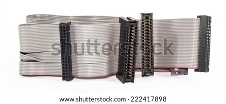 Connecting cables and adapters on white background - stock photo