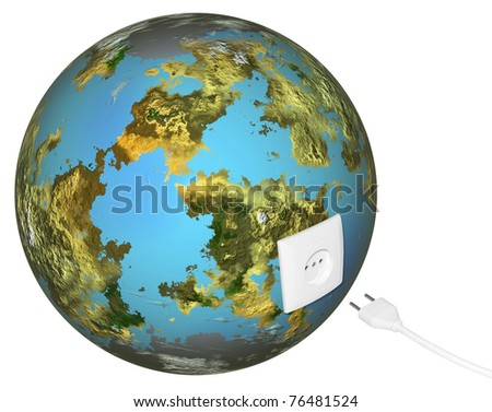 Connecting of electric power to earth. It is isolated on a white background - stock photo