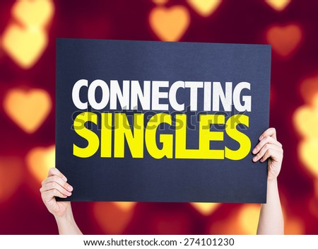 Connecting Singles card with heart bokeh background - stock photo