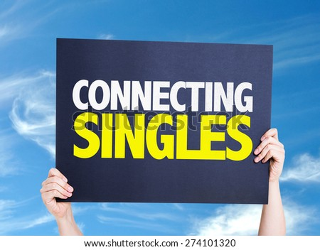 Connecting Singles card with sky background - stock photo