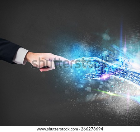 Connection between human and the virtual world - stock photo