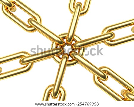 Connection concept. Golden chains isolated on white background - stock photo