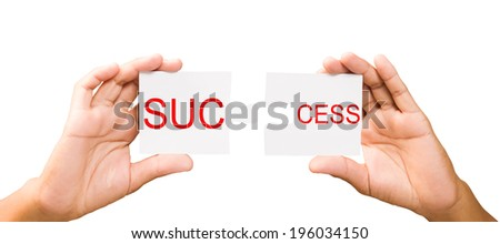 connection concept. hands with pieces of puzzle on white background, clipping path. success - stock photo