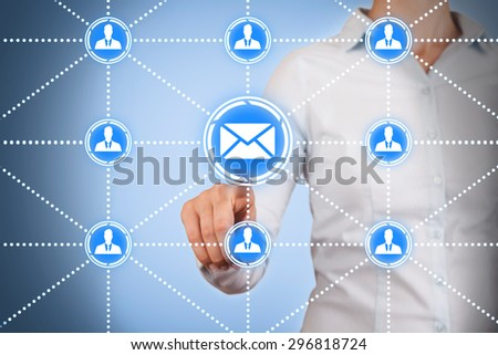 Connection Concept on Touch Screen - stock photo