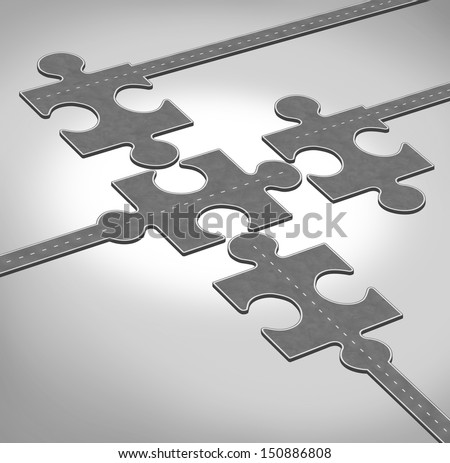 Connection direction business concept of a group of roads or highways shaped as jigsaw puzzle pieces connecting together as a team partnership bridging the gap for financial success and solutions. - stock photo