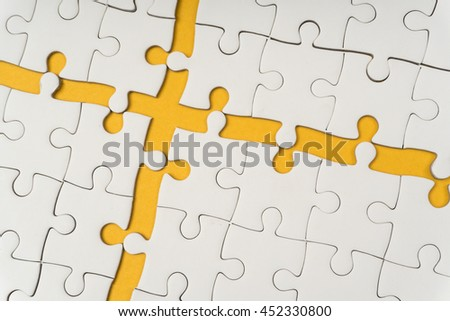 connection of jigsaw puzzle - stock photo