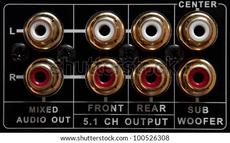Connection panel of a black dvd player - stock photo