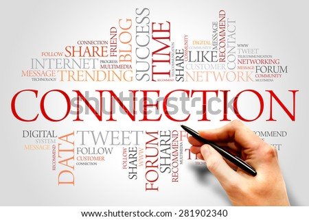 Connection word cloud, business concept - stock photo