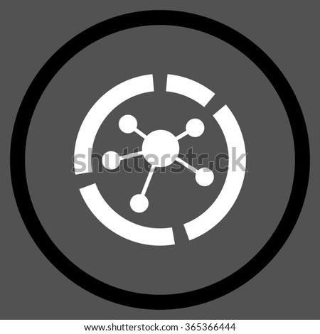 Connections Diagram glyph icon. Style is bicolor flat circled symbol, black and white colors, rounded angles, gray background. - stock photo