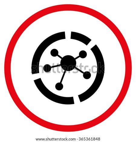 Connections Diagram glyph icon. Style is bicolor flat circled symbol, intensive red and black colors, rounded angles, white background. - stock photo