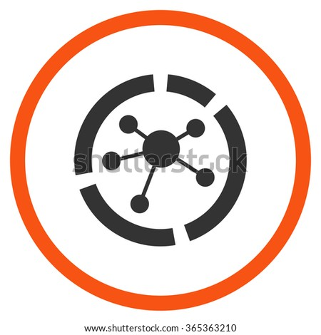 Connections Diagram glyph icon. Style is bicolor flat circled symbol, orange and gray colors, rounded angles, white background. - stock photo