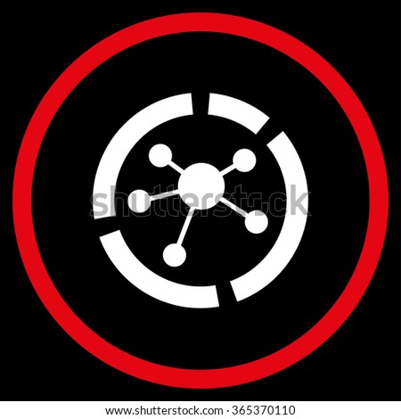 Connections Diagram glyph icon. Style is bicolor flat circled symbol, red and white colors, rounded angles, black background. - stock photo