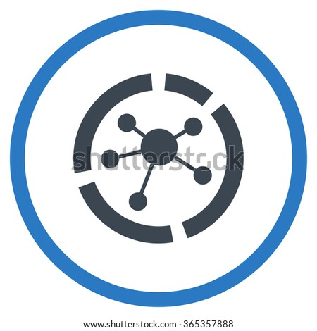 Connections Diagram glyph icon. Style is bicolor flat circled symbol, smooth blue colors, rounded angles, white background. - stock photo