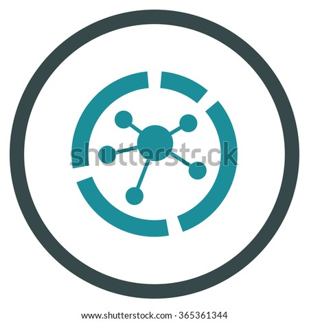 Connections Diagram glyph icon. Style is bicolor flat circled symbol, soft blue colors, rounded angles, white background. - stock photo