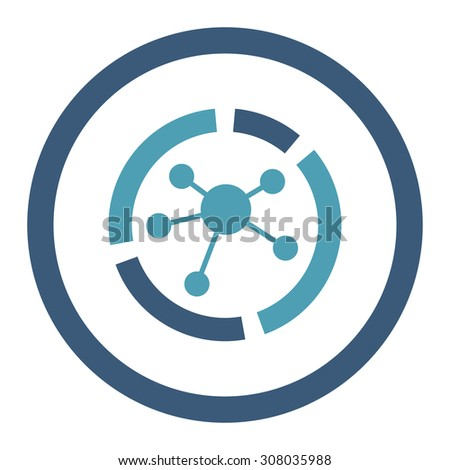 Connections diagram glyph icon. This rounded flat symbol is drawn with cyan and blue colors on a white background. - stock photo