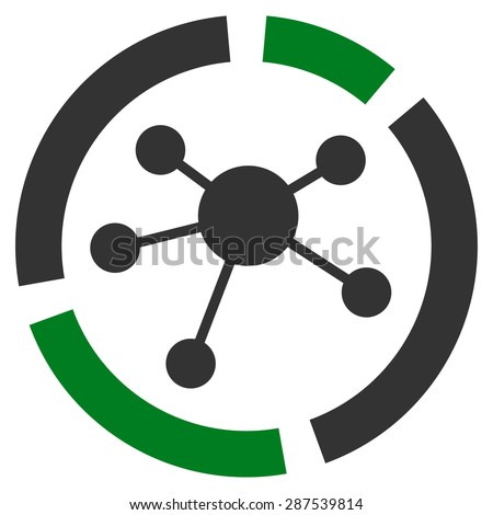 Connections diagram icon from Business Bicolor Set. Glyph style: bicolor flat symbol, green and gray colors, rounded angles, white background. - stock photo
