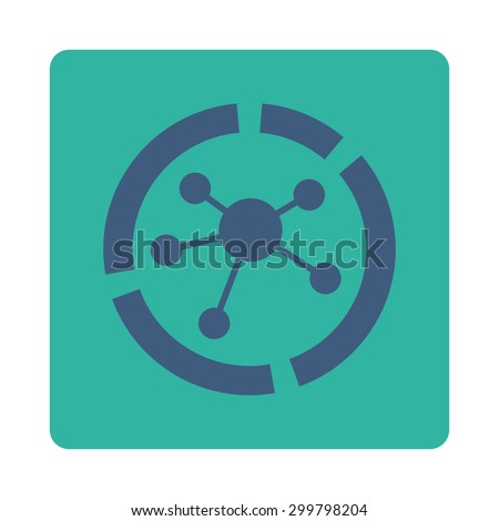 Connections diagram icon. Glyph style is cobalt and cyan colors, flat rounded square button on a white background. - stock photo