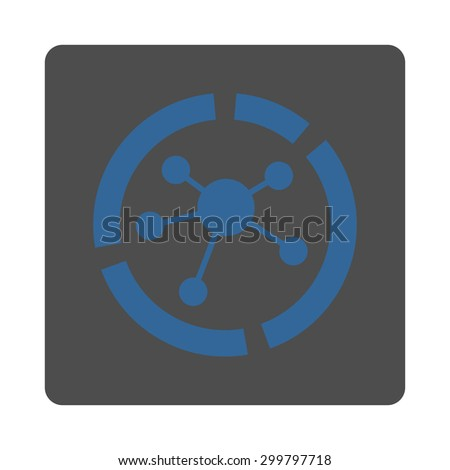 Connections diagram icon. Glyph style is cobalt and gray colors, flat rounded square button on a white background. - stock photo