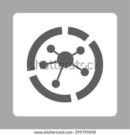 Connections diagram icon. Glyph style is dark gray and white colors, flat rounded square button on a silver background. - stock photo
