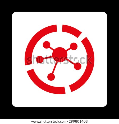 Connections diagram icon. Glyph style is red and white colors, flat rounded square button on a black background. - stock photo