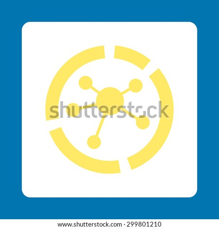 Connections diagram icon. Glyph style is yellow and white colors, flat rounded square button on a blue background. - stock photo