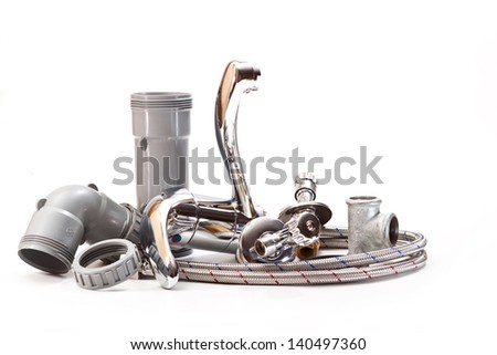 Connections for the installation of the water faucet for the sink in the bathroom on a white background - stock photo