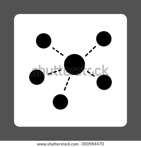 Connections icon. Glyph style is black and white colors, flat rounded square button on a gray background. - stock photo