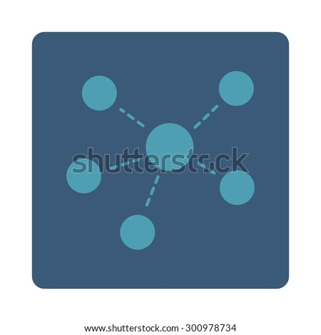 Connections icon. Glyph style is cyan and blue colors, flat rounded square button on a white background. - stock photo