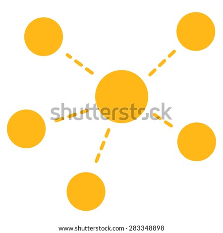 Connections icon. Style: flat symbol, yellow color, rounded angles, white background. - stock photo