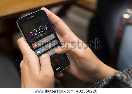 connectivity concept: girl using a digital generated phone with notifications on the screen. All screen graphics are made up. - stock photo
