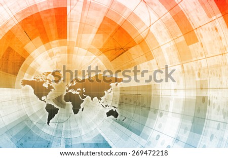 Connectivity Concept with Multi Touch Screen Media - stock photo