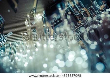 Connectivity.Fiber optic cables, fibre connection, telecomunications concept. - stock photo