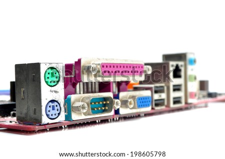 Connector of computer motherboard, back side computer port isolated on white background - stock photo
