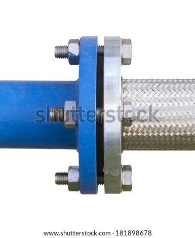 Connector of steel pipe by bolt with white background. - stock photo