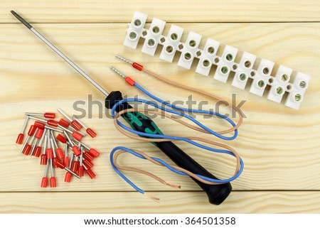Connector of wires - stock photo