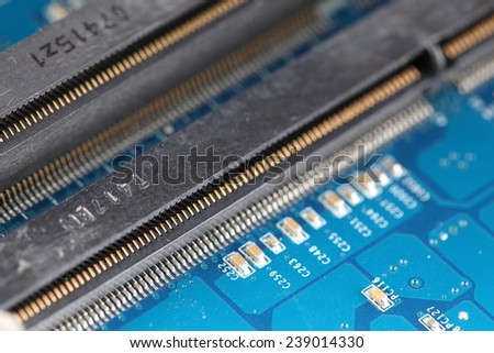 connector slots for lap top computer memory on a printed wiring board