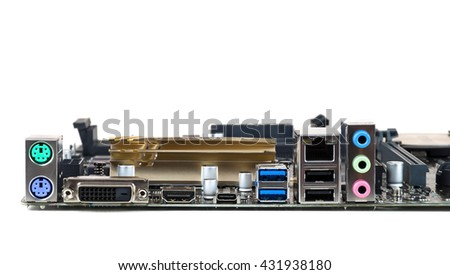 Connectors of the computer motherboard isolated on white background - stock photo