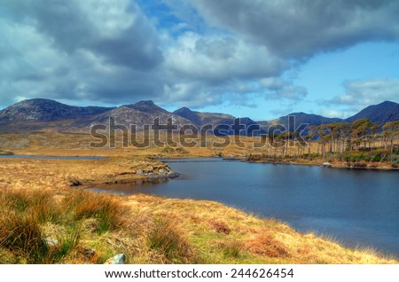Connemara lake and mountains in Co. Mayo, Ireland