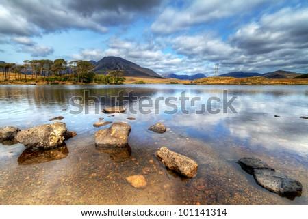 Connemara mountains and lake scenery, Ireland - stock photo