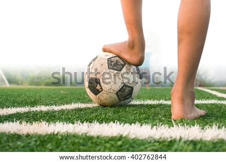 Conner kick in soccer game. - stock photo
