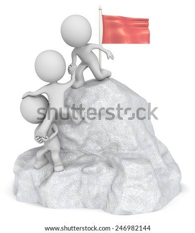 Conquer. The dude 3D character x3 climbing a Mountain with top Flag. - stock photo