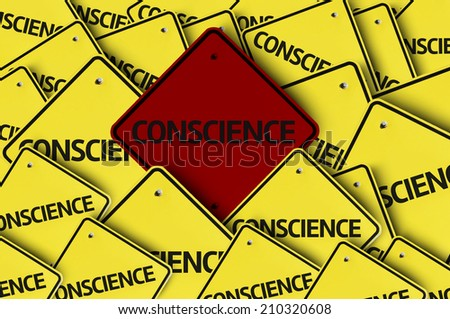 Conscience written on multiple road sign  - stock photo