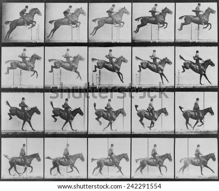 Consecutive images of man riding a horse. From Eadweard Muybridge's, ANIMAL LOCOMOTION, 1887. - stock photo