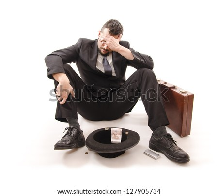 Consequences of the crisis: unemployment and ruin for businessman. - stock photo