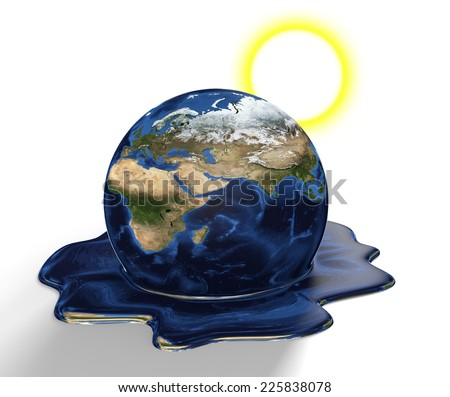 Conservation concept of Earth melting from climate change and global warming, parts of this image furnished by NASA - stock photo